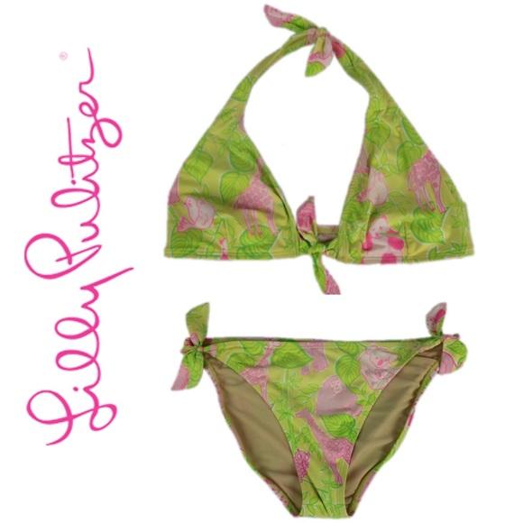 f34418844baa0 Lilly Pulitzer Swim   Lily Pulitzer Animal Halter Bikini Suit   Poshmark